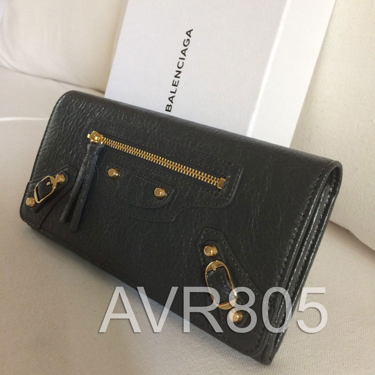 04425fe7285 Balenciaga Money Wallet Gris Fossil Classic Gold Regular Hardware 2017  Brand New