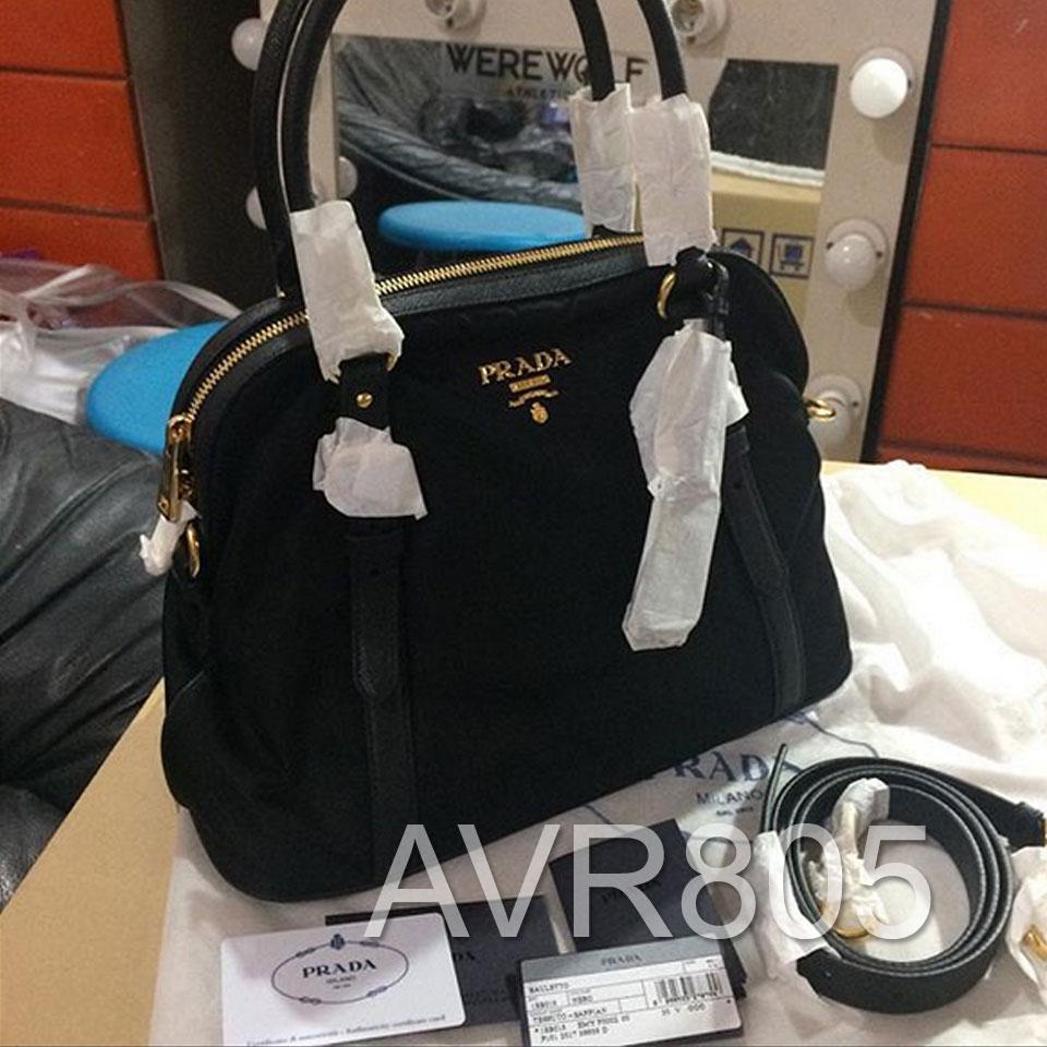 Prada 1BB013 Nero Black Tessuto Nylon Saffiano Top Handle Bowler Bag Brand  New – Porto Di Moda Designer s Haven 51c4e0f98ca1b